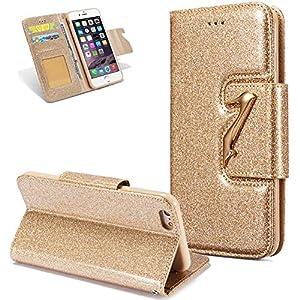FNBK Hülle Leder Kompatibel mit iPhone 6S Plus Handyhülle Glitzer High Heels Ledertasche Schutzhülle Wallet Flip Case Tasche Slim Bookstyle Kartenfächer Stand Klapphülle für iPhone 6 Plus/6S Plus,Gold