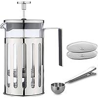 MW Creations French Presse Kaffee/Tee-Hersteller Hitzebeständigem, Cafetiere mit Chrome Rahmen Doppelfilter, 5 Tassen…