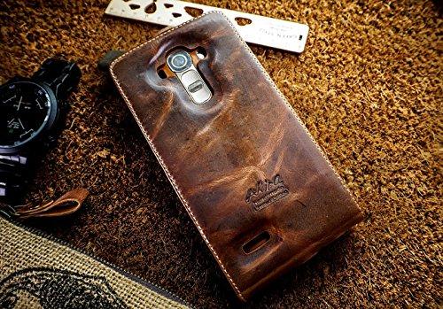 Urcover® custodia portafoglio lg g4 | protettiva akira fatta a mano | wallet case flip cover in vera pelle marrone scuro - ed. limitata | cuoio artigianale elegante business premium