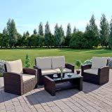 Brown Rattan Wicker Weave Garden Furniture Sofa Set with Outdoor Cover