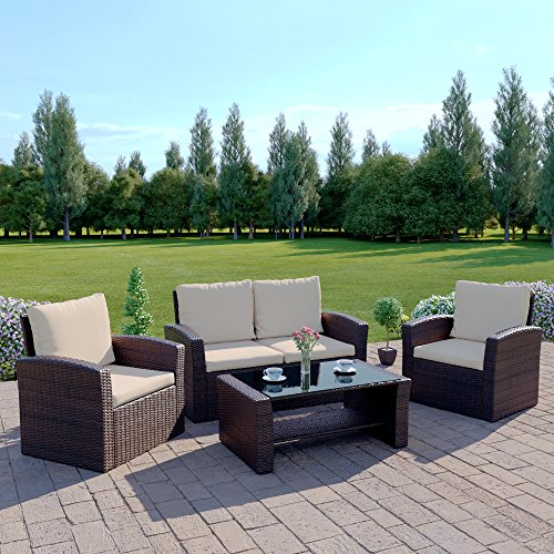 new rattan wicker weave garden furniture patio conservatory sofa set includes outdoor protective cover brown - Garden Furniture Sofa Sets