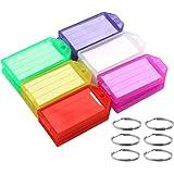 Coideal 60 Pack Stoere Plastic Sleutelhangers met Sterke Split Ring en Flap Label Venster Gekleurde Identifier ID Sleutelhang