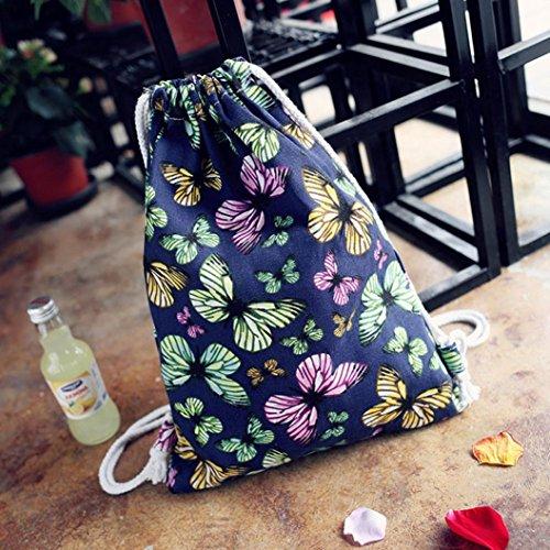 BZLine® Frauen Schmetterlings-Segeltuch-Rucksack Taschen Tunnelzug Rucksack Tasche, 33*1*41cm Dunkelblau
