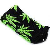 Bongles 1 comodo paio Cotton Socks Foglia di Marijuana Stampato calzini lunghi casuali Weed Crew Sport Socks (Black & Green)