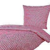 Hans-Textil-Shop Bettwäsche 135x200 80x80 cm, Karo 1x1 cm, 52% Baumwolle und 48% Polyester, pflegeleicht, Bettbezug, Bettwäschegarnitur, Bettwäscheset (Rot)