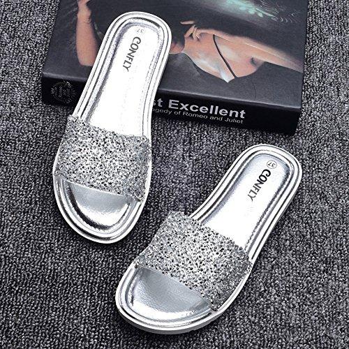 Estate Sandali Sandali piani antisdrucciolevoli dei sandali del diamante delle donne (multi colore opzionale) Colore / formato facoltativo 1003