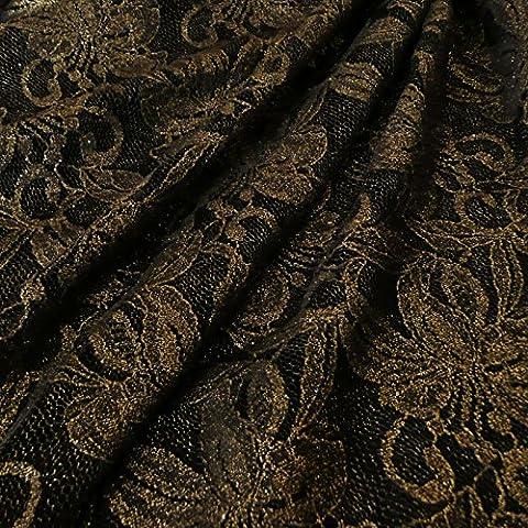 Negro con acabado brillante y dorado diseño Floral Fashion tela 150 cm de ancho - vestido de fiesta - se vende por metro - se vende por