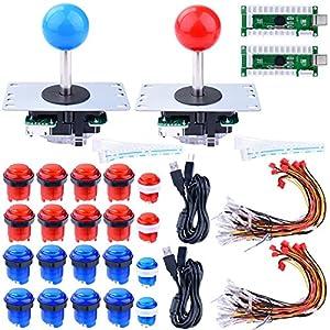 Longruner for Raspberry Pi 3 2 Model B Retropie, LED Arcade DIY Parts 2X Zero Delay USB Encoder + 2X 8 Way Joystick + 20x LED Illuminated Push Buttons for Mame Jamma Arcade Project Red + Blue