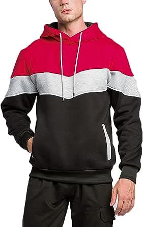Men's Hoodie Color Block Casual Thicken Sports Hoodie Red