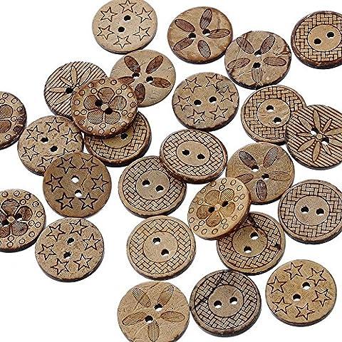 Sanwood Knopfsortiment, Näh- und Bastelbedarf, diverse Muster im Set enthalten, verschiedene Brauntöne, je 18mm Durchmesser, 50 Stück