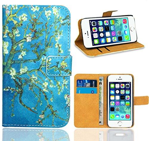 iPhone SE / iPhone 5 5S Housse Coque, FoneExpert Etui Housse Coque en Cuir Portefeuille Wallet Case Cover pour iPhone SE / iPhone 5 5S Color 6