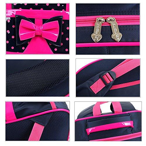 SusuTOP Zaino Impermeabile di Modello Bowknot Principessa con Tracolle-Borsa Della Scuola Studentesca ragazza Schoolbag (Rosa) Rosa