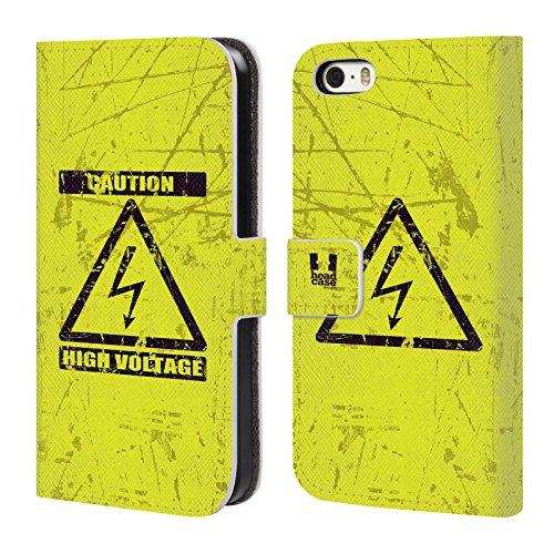 Head Case Designs Marienkäfer Muster Verschiedene Designs Brieftasche Handyhülle aus Leder für Apple iPhone 5 / 5s / SE Hochspannung