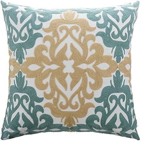 Pony Dance - Fodera per cuscino arredo in cotone e lino con ricamo di foglie di pino, copri cuscino, Tessuto, Mustard Floral, 18