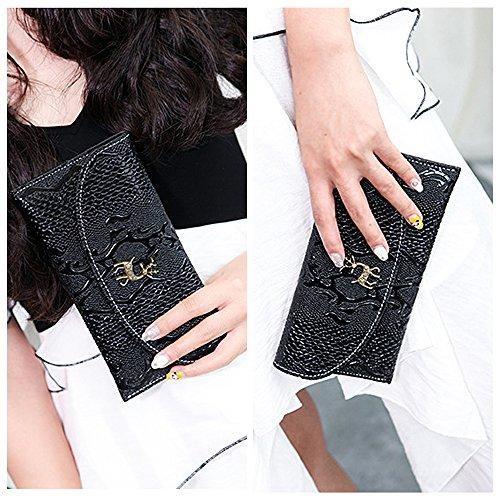 Pochette da sera con pochette da donna Ya Jin, tracolla in ecopelle con patta da sera Nero