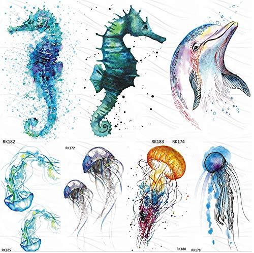 Seepferdchen Kostüm Einfache - yyyDL Seepferdchen Delphin Ozean Temporäre Tattoos Aufkleber Aquarell Fake Tattoo Flash Benutzerdefinierte Tätowierung Für Kinder Frauen Körperkunst Arm 10 * 6 cm 7 stücke