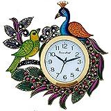 DivineCraft Kundan Studded and Meenakari Wooden Peacock Emboss Wall Clock, Multicolour