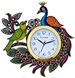 #1: Divinecrafts Designer Kundan Studded And Meenakari Stylish Beautiful Wooden Peacock Emboss Painting Wall Clock| Clock For Home | Wall Clock For Kitchen | Rajasthani Wall Clock
