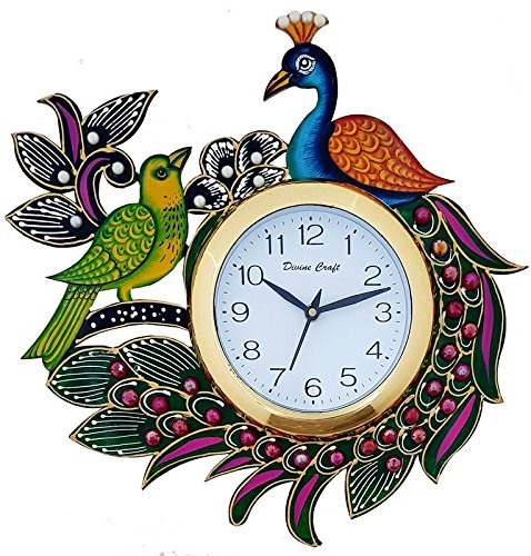 Divinecrafts Beautiful Wooden Peacock Emboss Painting Wall Clock (Multicolor)