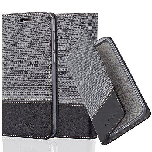 Preisvergleich Produktbild Cadorabo Hülle für Honor 6 - Hülle in GRAU SCHWARZ – Handyhülle mit Standfunktion und Kartenfach im Stoff Design - Case Cover Schutzhülle Etui Tasche Book