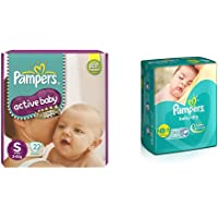 Pampers Active Baby Diapers, Small, 22 Count & Pampers Baby Dry Diapers, New Born, 22 Count