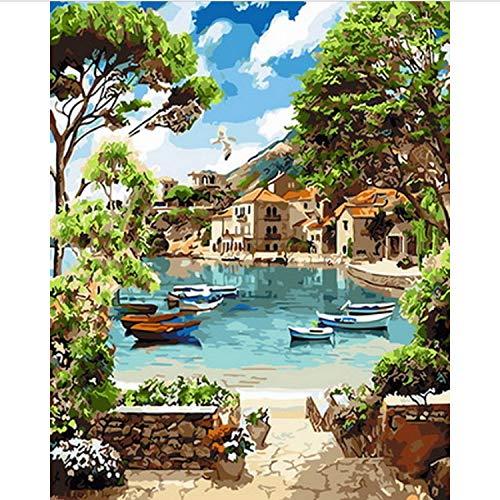CBUSYS Rahmenlose DIY Gemälde Nach Zahlen Malen Nach Zahlen Für Wohnkultur Ölbild Malerei 50 * 65 cm Sommer Mittag