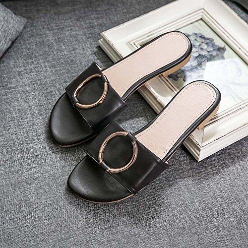 Estate Sandali Pantofole delle signore Sandali piani piani di modo Colore / formato facoltativo Nero