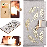 Robinsoni Case Compatible with Samsung Galaxy A10 Phone Case PU Leather Wallet Cover Shockproof Kickstand Case Notebook Golden Leaf Carved Cover Flip Stand Retro Style Book Case Card Slots Case Sliver
