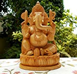 Wooden Ganesh Statue – Hand Carved Sitting Man lotus- Hindukusch Elephant Lord Ganesha Wood Skulptur – God of Prosperity and Fortune Ganpati vinayak India Hindukusch Yogitoes God Figur