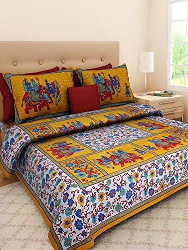Suraaj Fashion 100!% Cotton Printed King Size Double Bedsheets With 2 Pillow Covers