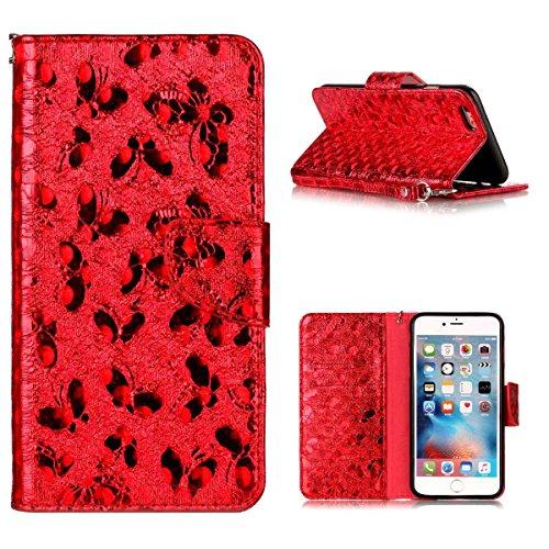 "MOONCASE iPhone 6 Plus/iPhone 6s Plus Flip Cover, [Butterfly Pattern] Leder Handyhülle Built-in Ständer TPU Stoßfest Schutz-tasche Case für iPhone 6 Plus/iPhone 6s Plus 5.5"" Golden Red"