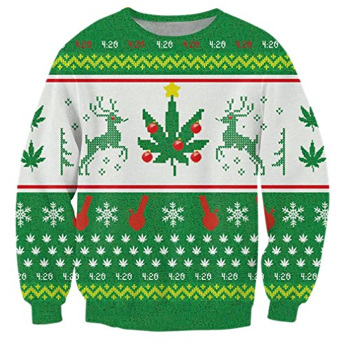 BFUSTYLE weiß Schneeflockedruck Jacke Neuheit T Hässlich Weihnachtshemd oben