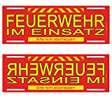 Feuerwehr im Einsatz Wendeschild WSB Schild für die Sonnenblende in Normal- & Spiegelschrift - Alternative zu Dachaufsetzer und Dachschild
