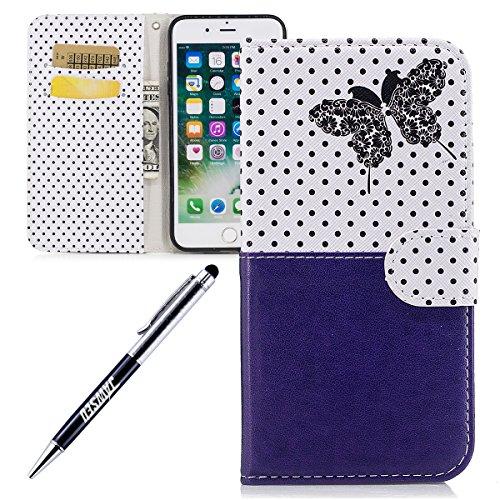 JAWSEU Coque Etui pour iPhone 7 Plus Portefeuille Pu,iPhone 7 Plus Étui Folio en Cuir,iPhone 7 Plus Coque à Rabat Magnétique Housse Etui de Protection élégant Une Fleur Papillon Point d'onde Motif Cou Bleu