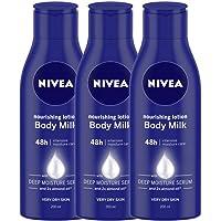 Nivea Nourishing Lotion Body Milk, 200ml (Pack of 3), Dry Skin