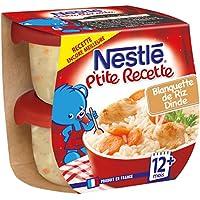 Nestlé Bébé P'tite Recette Blanquette de Riz Dinde - Plat Complet dès 12 + Mois - 2 x 200g - Lot de 8