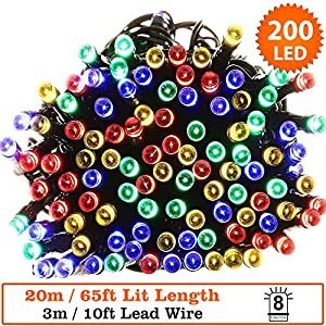 Fairy Lights 200 LED Multi Colour Outdoor Christmas Lights String Lights 20 m / 65 ft Lit Length with 3 m/10 ft Lead Wire Power operated LED Fairy Lights - Green Cable- Indoor & Outdoor Use