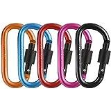 Alitrade Aluminium Carabiner Locking Ring Clip Hook (Multicolour) -5 Pieces
