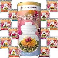 Teabloom Blühende Früchtetees 12er Pack Geschenkset - 12 Sorten Blütentee - Grüner Tee & Fruchtaromen Geschenk-Dose - Jeder blühende Teekugel kann bis zu 3 Mal aufgegossen werden