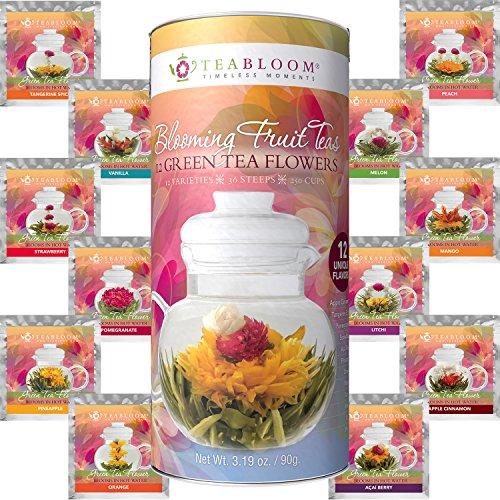 Juego regalo 12 tés florecientes frutas Teabloom