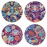 sxinhome saugfähiges Keramik Stein Untersetzer-Set für Getränke, Mosaik-Nähten, Set 4 Paisley 02