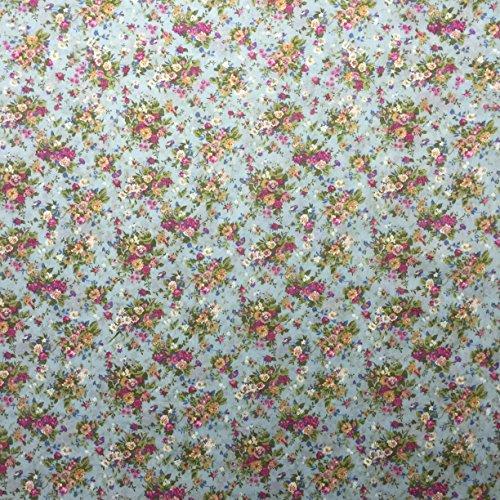 Ditsy Floral Print 1511/502HELLBLAU 100% Baumwolle Linon Sommer Kleid Stoff 147,3cm breit, Meterware, -