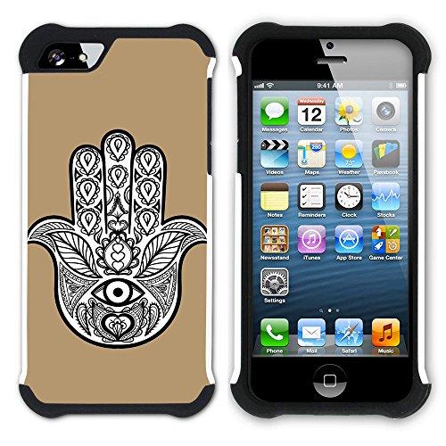 Graphic4You Hamsa Hand der Fatima (Wasserblau) Hart + Weiche Kratzfeste Hülle Case Schale Tasche Schutzhülle für Apple iPhone SE / 5 / 5S Hellbraun