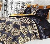 Set da letto retro Queen 3pezzi Biancheria di cotone nero oro indiano Ranforce copripiumino egiziano orientale Sultan vintage etnico africano mediorientale mandala albero della vita di lusso