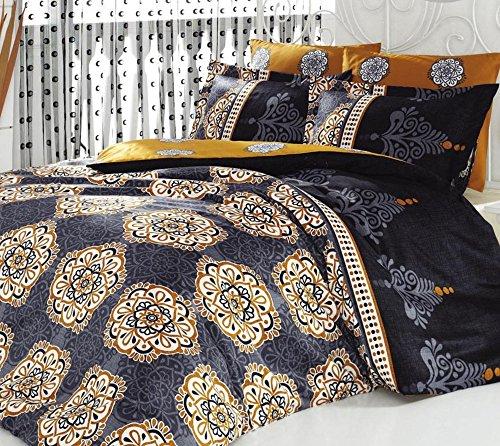 o Queen 3Stück Baumwolle Leinen schwarz gold indischen Ranforce Bettwäscheset, Bettbezug Ägyptische Oriental Sultan Vintage Ethnische afrikanischen Nahen Osten Mandala Leben Baum Luxus (Bettbezug Queen Baumwolle Schwarz)