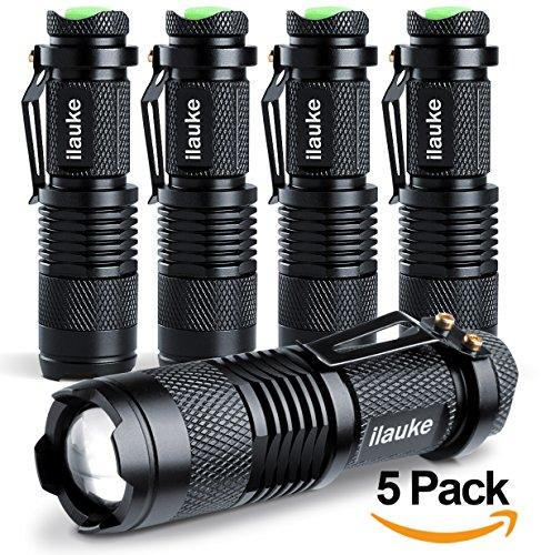 ilauke 5PCS Lampe Torche de Poche à LED CREE d'intensité Ajustable avec Clip 7W 350Lumen Super...