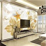 LHDLily 3D Tapete 3D Wallpaper Fresken Wandbilder Verdicken Warmen Strand Starfish Wunderschöne Blumen Papier Tv Vertrag Große Tapeten Home Decor 200Cmx150Cm
