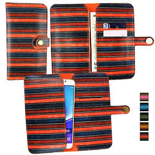 Emartbuyu00ae Orange Jahrgang Streifen PU Leder Mappen Kasten Abdeckungs Hülsen Halter (Größe 5XL) Mit magnetischem Knopfverschluss Geeignet Für Creev Mark V Plus 4G LTE Smartphone 5.5 Zoll