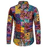 Camicia Top Camicetta a Maniche Lunghe Summer Fashion Business Tempo Libero Stampa Uomo (XXL,Multicolore)