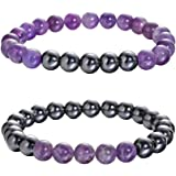 QIMOSHI Magnetic Hematite Bracelets for Women Men Therapy Healing Stone Bracelet and Relief for Arthritis and Carpal Tunnel.